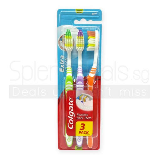 Colgate Toothbrush - Extra Clean - Reaches Back Teeth  3s