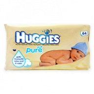 Huggies Pure Baby Wipes for All Skin & Sensitive Skin Types  64 wipes