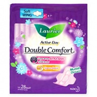 Laurier Sanitary Pads - Double Comfort Active Day Soft Wing 28s