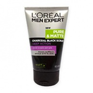 Loreal MEN Facial Scrub - Expert Pure and Matte Charcoal Black 100ml