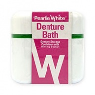 Pearlie White Denture Bath - Denture Storage Container with Rinsing Basket