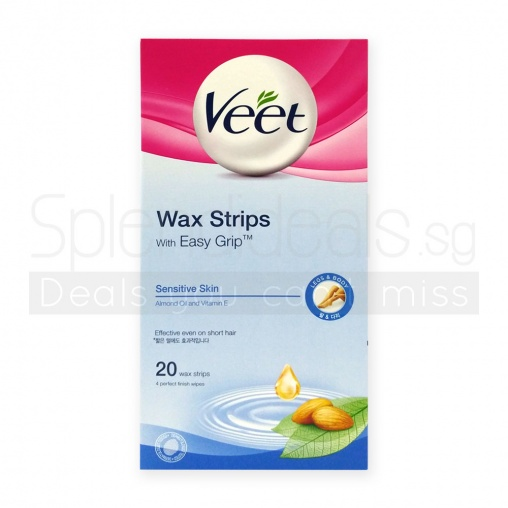 Veet Wax Strips For Sensitive Skin W/Almond Oil & Vitamin E Fragrance 20s