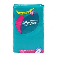 Whisper Sanitary Pads - Regular Flow Wing 20s